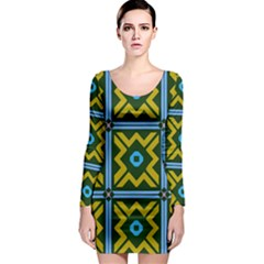 Rhombus in squares pattern Long Sleeve Bodycon Dress