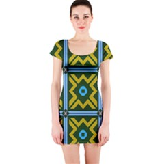Rhombus in squares pattern Short sleeve Bodycon dress