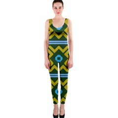 Rhombus in squares pattern OnePiece Catsuit