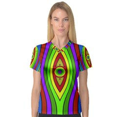 Colorful symmetric shapes Women s V-Neck Sport Mesh Tee
