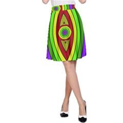 Colorful symmetric shapes A-line Skirt
