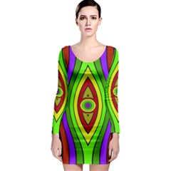 Colorful symmetric shapes Long Sleeve Bodycon Dress