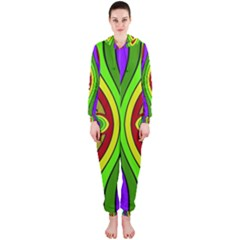 Colorful Symmetric Shapes Hooded Onepiece Jumpsuit
