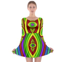 Colorful symmetric shapes Long Sleeve Skater Dress