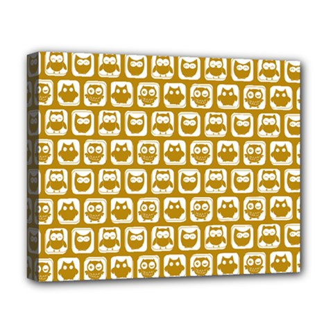 Olive And White Owl Pattern Deluxe Canvas 20  x 16