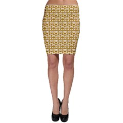 Olive And White Owl Pattern Bodycon Skirts