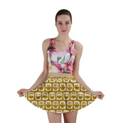 Olive And White Owl Pattern Mini Skirts