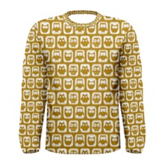 Olive And White Owl Pattern Men s Long Sleeve T-shirts