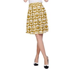 Olive And White Owl Pattern A-Line Skirts