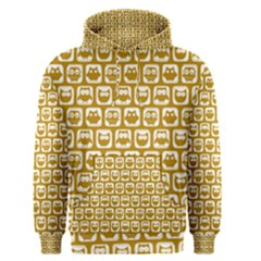 Olive And White Owl Pattern Men s Pullover Hoodies