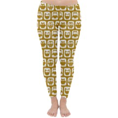 Olive And White Owl Pattern Winter Leggings