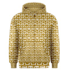 Olive And White Owl Pattern Men s Zipper Hoodies