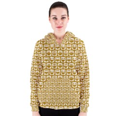 Olive And White Owl Pattern Women s Zipper Hoodies