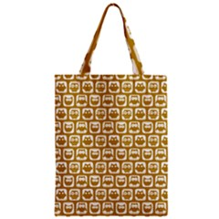 Olive And White Owl Pattern Zipper Classic Tote Bags