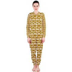 Olive And White Owl Pattern OnePiece Jumpsuit (Ladies)
