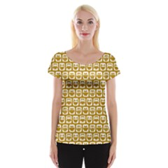 Olive And White Owl Pattern Women s Cap Sleeve Top