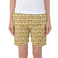 Olive And White Owl Pattern Women s Basketball Shorts