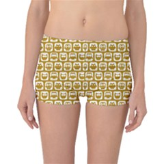 Olive And White Owl Pattern Boyleg Bikini Bottoms