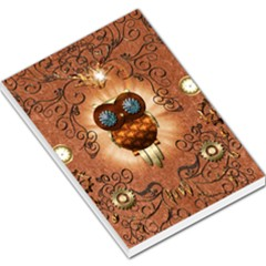 Steampunk, Funny Owl With Clicks And Gears Large Memo Pads