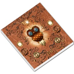 Steampunk, Funny Owl With Clicks And Gears Small Memo Pads