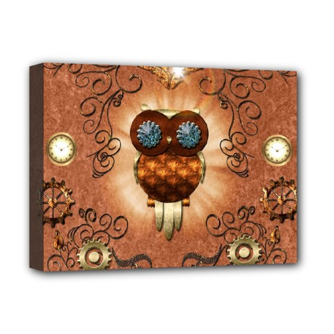 Steampunk, Funny Owl With Clicks And Gears Deluxe Canvas 16  x 12