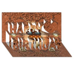Steampunk, Funny Owl With Clicks And Gears Happy Birthday 3D Greeting Card (8x4)