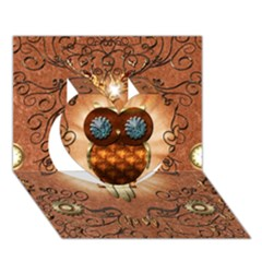 Steampunk, Funny Owl With Clicks And Gears Heart 3d Greeting Card (7x5)