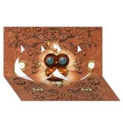 Steampunk, Funny Owl With Clicks And Gears Twin Hearts 3D Greeting Card (8x4)