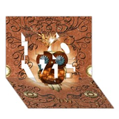 Steampunk, Funny Owl With Clicks And Gears LOVE 3D Greeting Card (7x5)