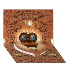 Steampunk, Funny Owl With Clicks And Gears Heart Bottom 3d Greeting Card (7x5)