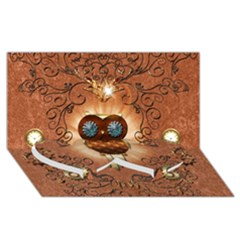 Steampunk, Funny Owl With Clicks And Gears Twin Heart Bottom 3D Greeting Card (8x4)