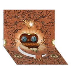 Steampunk, Funny Owl With Clicks And Gears Circle Bottom 3d Greeting Card (7x5)