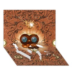 Steampunk, Funny Owl With Clicks And Gears LOVE Bottom 3D Greeting Card (7x5)