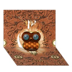 Steampunk, Funny Owl With Clicks And Gears Apple 3d Greeting Card (7x5)