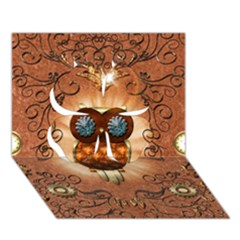 Steampunk, Funny Owl With Clicks And Gears Clover 3d Greeting Card (7x5)