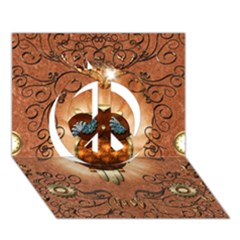 Steampunk, Funny Owl With Clicks And Gears Peace Sign 3D Greeting Card (7x5)