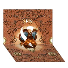 Steampunk, Funny Owl With Clicks And Gears Ribbon 3D Greeting Card (7x5)