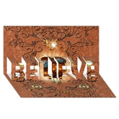 Steampunk, Funny Owl With Clicks And Gears BELIEVE 3D Greeting Card (8x4)