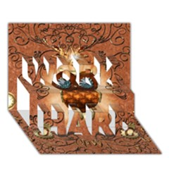 Steampunk, Funny Owl With Clicks And Gears WORK HARD 3D Greeting Card (7x5)