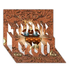 Steampunk, Funny Owl With Clicks And Gears THANK YOU 3D Greeting Card (7x5)