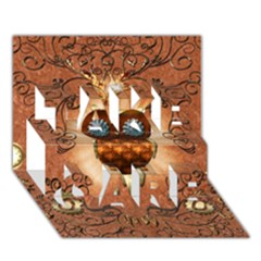 Steampunk, Funny Owl With Clicks And Gears Take Care 3d Greeting Card (7x5)