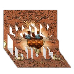 Steampunk, Funny Owl With Clicks And Gears You Did It 3D Greeting Card (7x5)