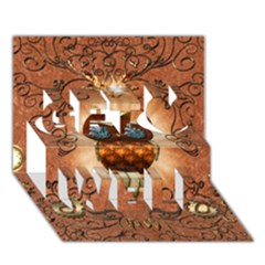 Steampunk, Funny Owl With Clicks And Gears Get Well 3d Greeting Card (7x5)
