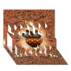 Steampunk, Funny Owl With Clicks And Gears You Rock 3D Greeting Card (7x5)