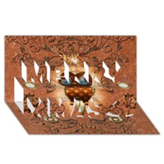 Steampunk, Funny Owl With Clicks And Gears Merry Xmas 3d Greeting Card (8x4)