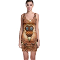 Steampunk, Funny Owl With Clicks And Gears Bodycon Dresses