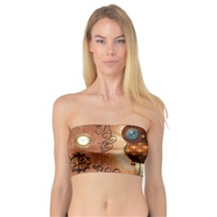 Steampunk, Funny Owl With Clicks And Gears Women s Bandeau Tops