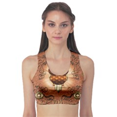 Steampunk, Funny Owl With Clicks And Gears Sports Bra