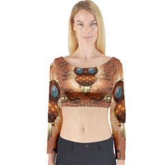 Steampunk, Funny Owl With Clicks And Gears Long Sleeve Crop Top