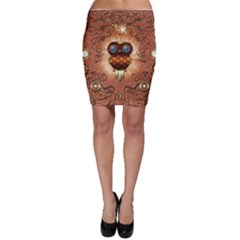 Steampunk, Funny Owl With Clicks And Gears Bodycon Skirts
